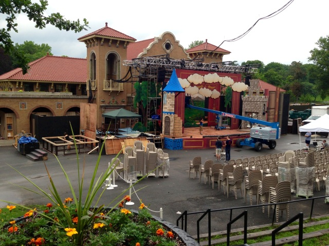 preparations for spamalot at washington park playhouse, albany, ny