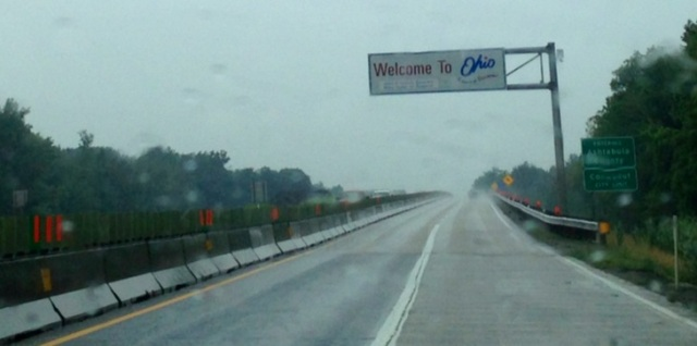 road trip to my MFA residency: entering OHIO from the PENNSYLVANIA border