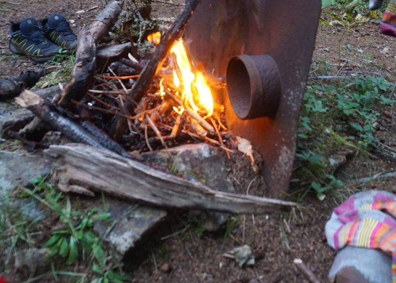 Cedar River tent site with remains of old wood stove